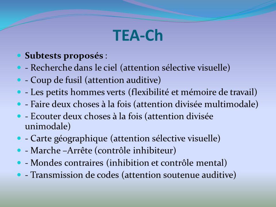 TEA-Ch Subtests proposés : - Recherche dans le ciel (attention sélective visuelle) - Coup de fusil (attention auditive) - Les petits hommes verts (fle