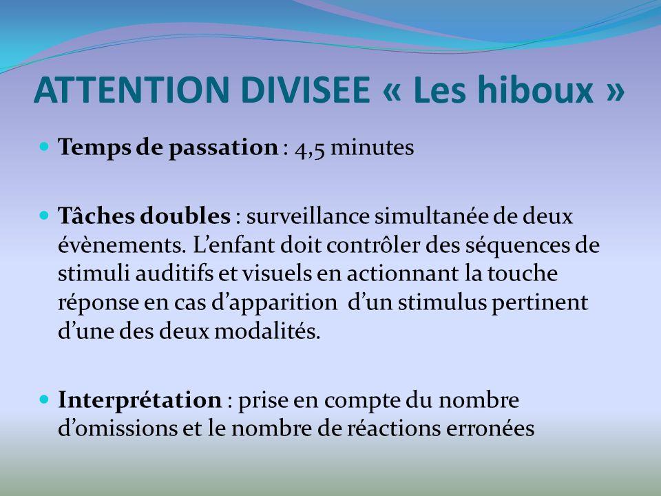 ATTENTION DIVISEE « Les hiboux » Temps de passation : 4,5 minutes Tâches doubles : surveillance simultanée de deux évènements. Lenfant doit contrôler