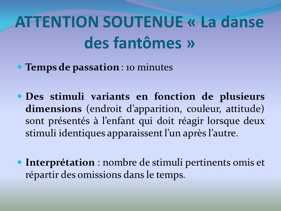 ATTENTION SOUTENUE « La danse des fantômes » Temps de passation : 10 minutes Des stimuli variants en fonction de plusieurs dimensions (endroit dappari