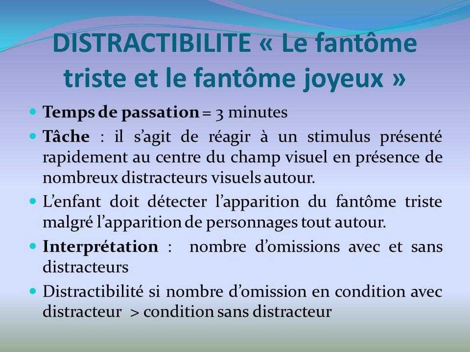 DISTRACTIBILITE « Le fantôme triste et le fantôme joyeux » Temps de passation = 3 minutes Tâche : il sagit de réagir à un stimulus présenté rapidement au centre du champ visuel en présence de nombreux distracteurs visuels autour.
