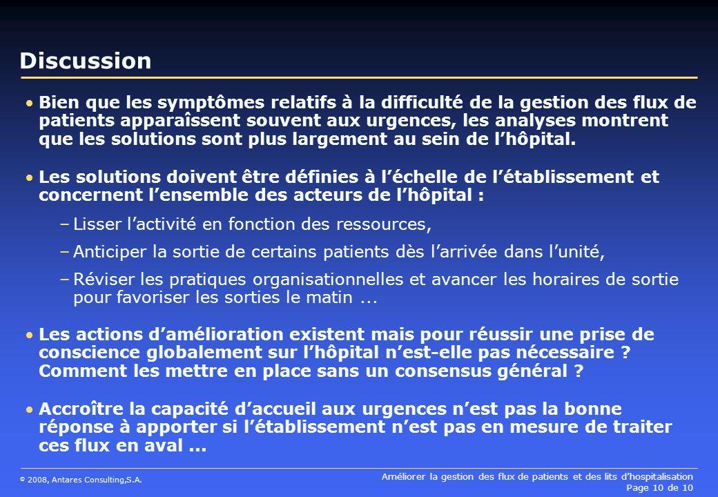 Améliorer la gestion des flux de patients et des lits dhospitalisation Page 10 de 10 © 2008, Antares Consulting,S.A. Discussion Bien que les symptômes