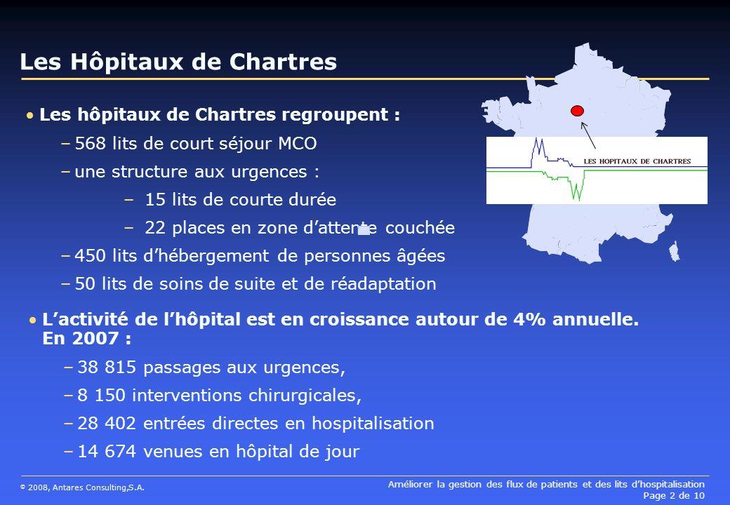 Améliorer la gestion des flux de patients et des lits dhospitalisation Page 2 de 10 © 2008, Antares Consulting,S.A. Les Hôpitaux de Chartres Les hôpit