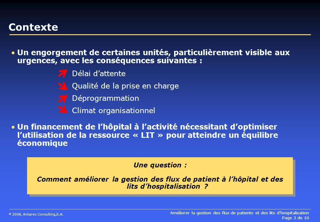 Améliorer la gestion des flux de patients et des lits dhospitalisation Page 3 de 10 © 2008, Antares Consulting,S.A. Contexte Un engorgement de certain