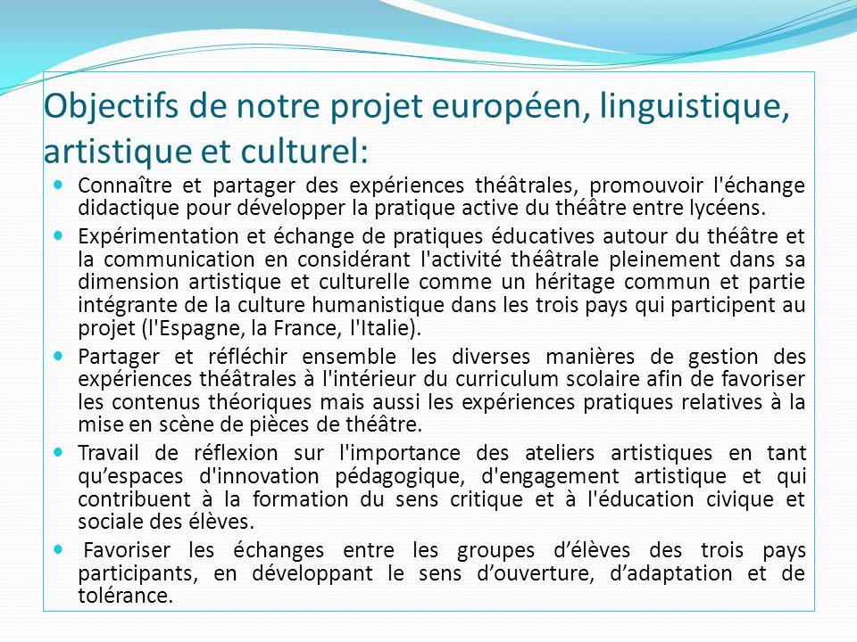 Objectifs de notre projet européen, linguistique, artistique et culturel: Connaître et partager des expériences théâtrales, promouvoir l'échange didac