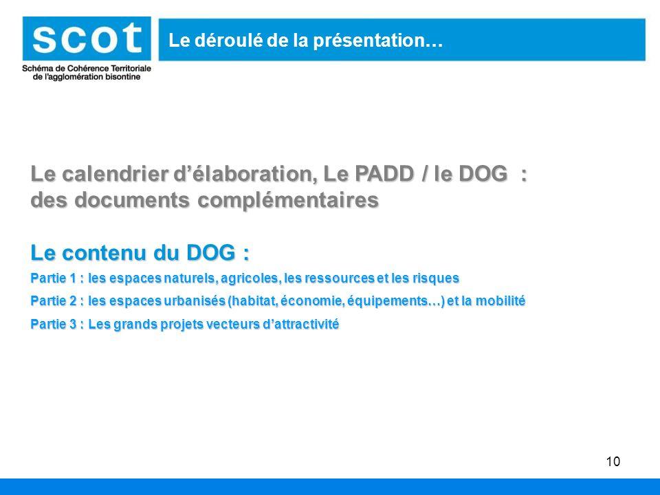 10 Le déroulé de la présentation… Le calendrier délaboration, Le PADD / le DOG : des documents complémentaires Le contenu du DOG : Partie 1 : les espa