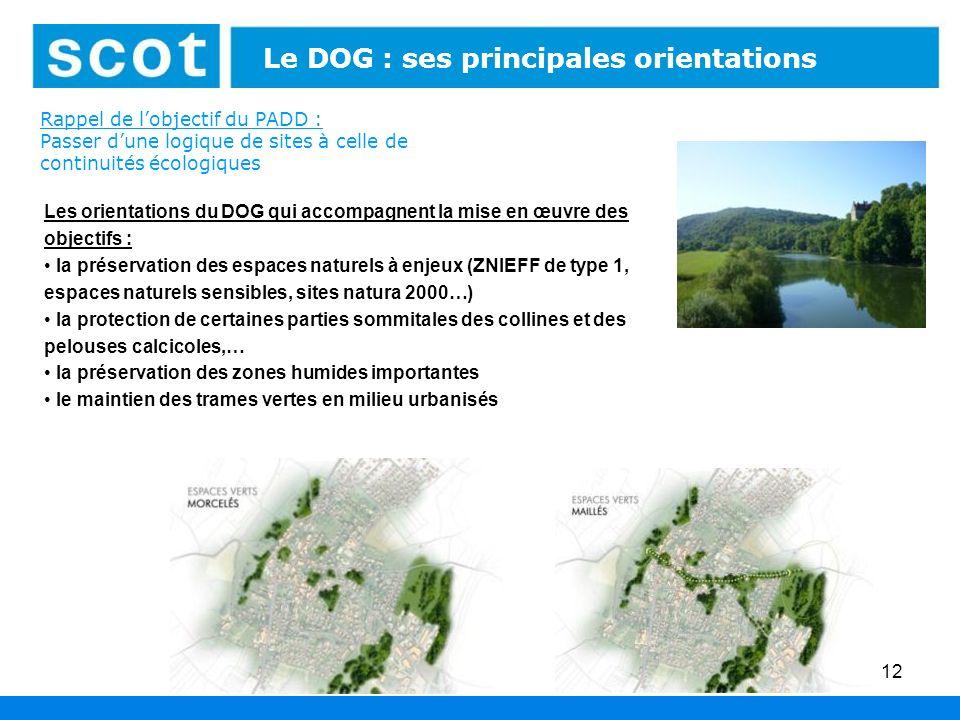 12 Rappel de lobjectif du PADD : Passer dune logique de sites à celle de continuités écologiques Le DOG : ses principales orientations Les orientation