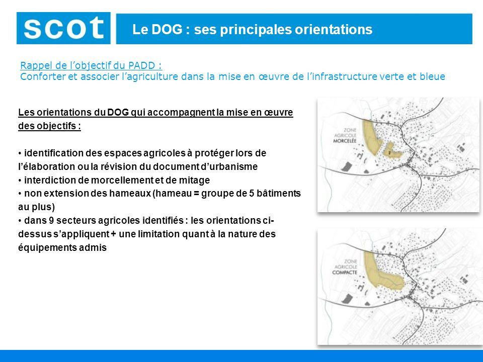 14 Le DOG : ses principales orientations Les orientations du DOG qui accompagnent la mise en œuvre des objectifs : identification des espaces agricole