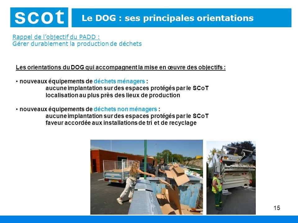 Rappel de lobjectif du PADD : Gérer durablement la production de déchets 15 Les orientations du DOG qui accompagnent la mise en œuvre des objectifs :
