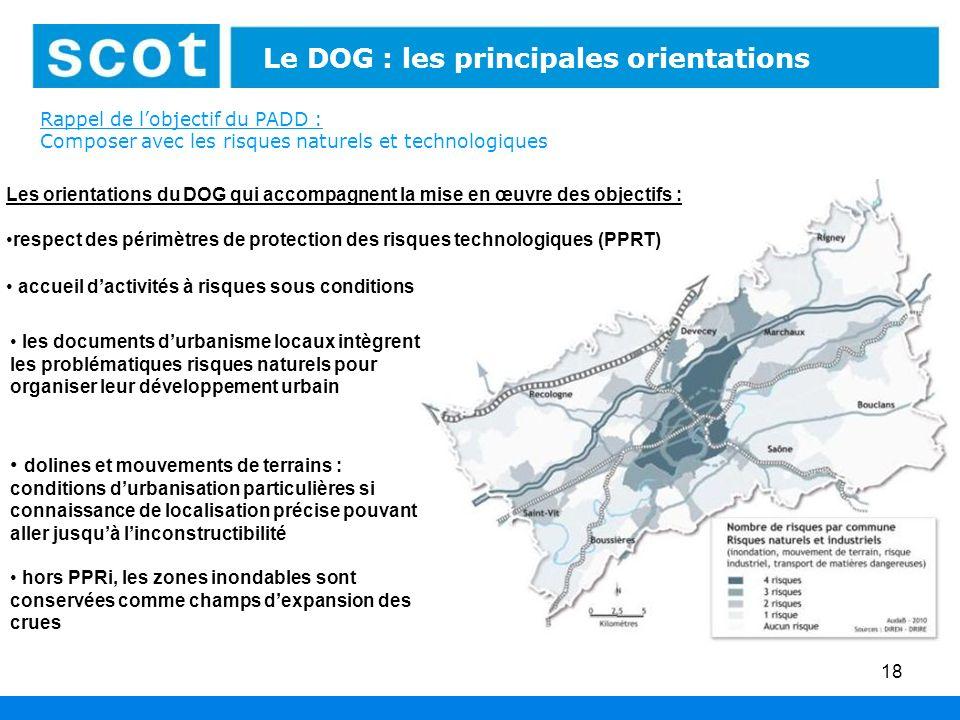 18 Le DOG : les principales orientations Rappel de lobjectif du PADD : Composer avec les risques naturels et technologiques dolines et mouvements de t