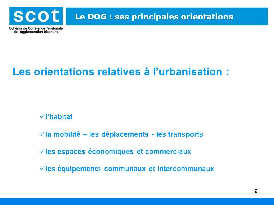 19 Les orientations relatives à lurbanisation : lhabitat la mobilité – les déplacements - les transports les espaces économiques et commerciaux les éq