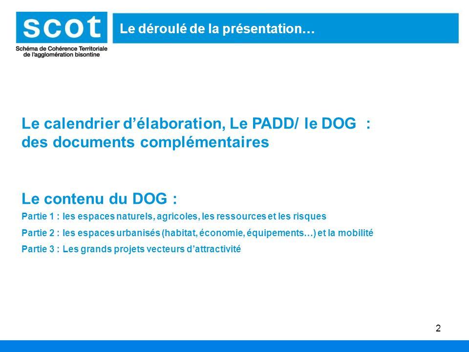2 Le déroulé de la présentation… Le calendrier délaboration, Le PADD/ le DOG : des documents complémentaires Le contenu du DOG : Partie 1 : les espace
