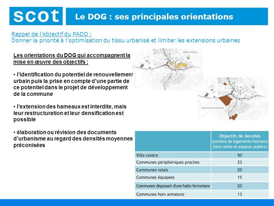 23 Le DOG : ses principales orientations Rappel de lobjectif du PADD : Donner la priorité à loptimisation du tissu urbanisé et limiter les extensions