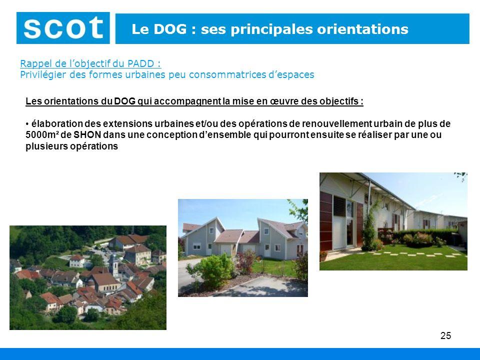 Rappel de lobjectif du PADD : Privilégier des formes urbaines peu consommatrices despaces 25 Les orientations du DOG qui accompagnent la mise en œuvre