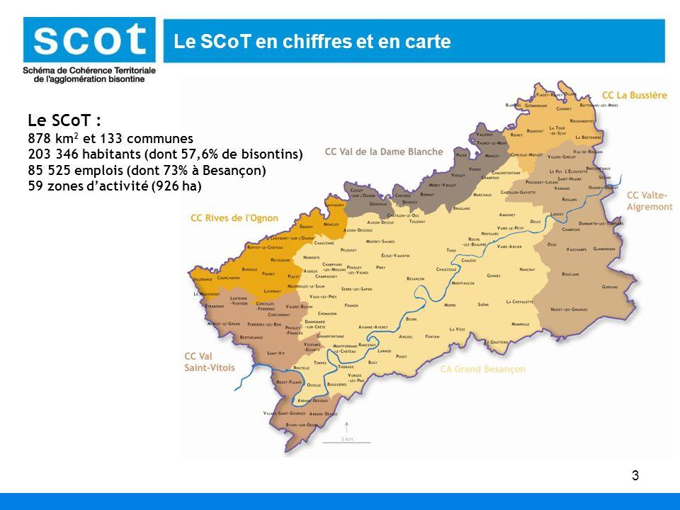 3 Le SCoT : 878 km 2 et 133 communes 203 346 habitants (dont 57,6% de bisontins) 85 525 emplois (dont 73% à Besançon) 59 zones dactivité (926 ha) Le S