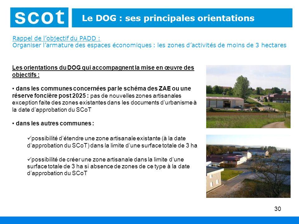 Rappel de lobjectif du PADD : Organiser larmature des espaces économiques : les zones dactivités de moins de 3 hectares 30 Les orientations du DOG qui