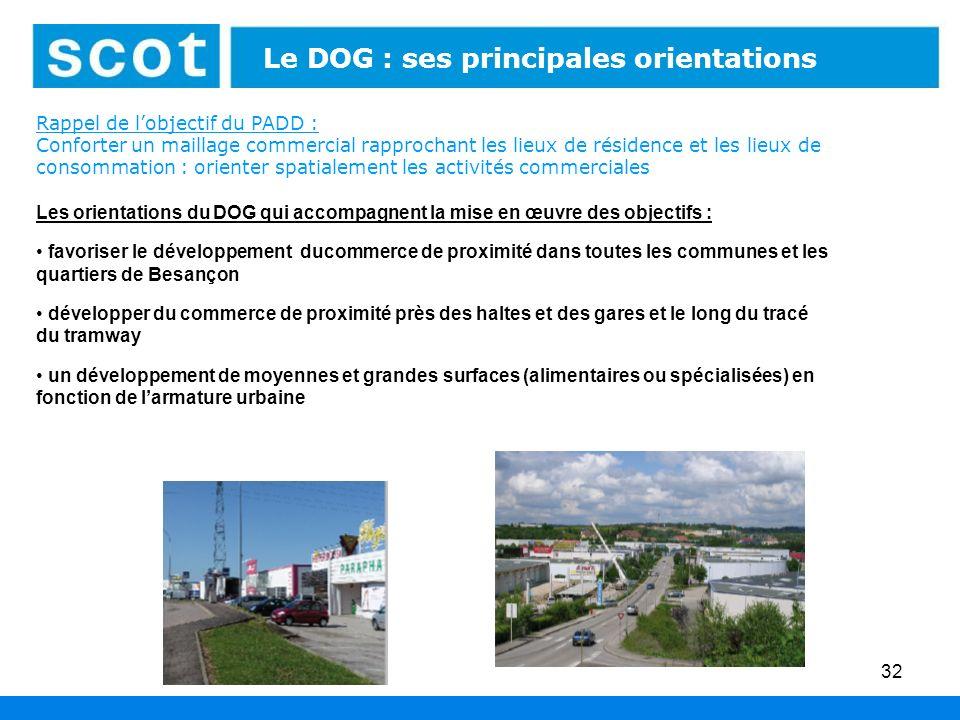 32 Les espaces économiques : leur aménagement Les orientations du DOG qui accompagnent la mise en œuvre des objectifs : favoriser le développement duc