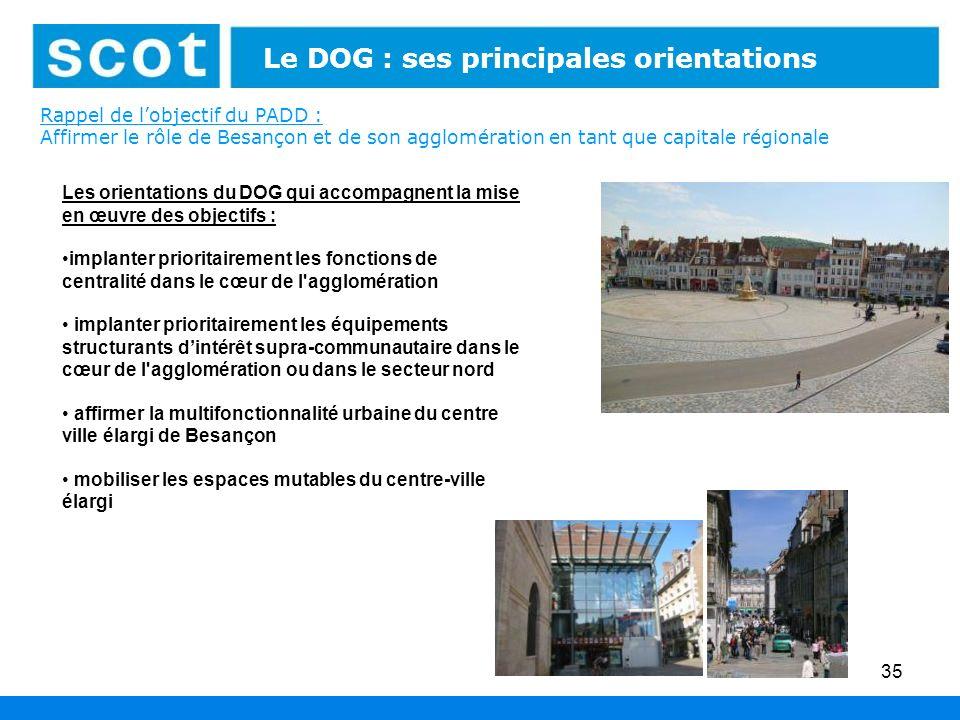 Rappel de lobjectif du PADD : Affirmer le rôle de Besançon et de son agglomération en tant que capitale régionale 35 Le DOG : ses principales orientat