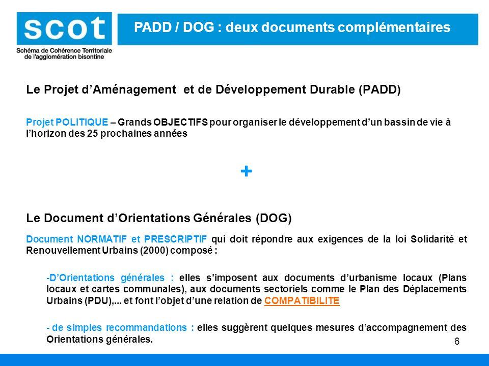 6 Le Projet dAménagement et de Développement Durable (PADD) Projet POLITIQUE – Grands OBJECTIFS pour organiser le développement dun bassin de vie à lh