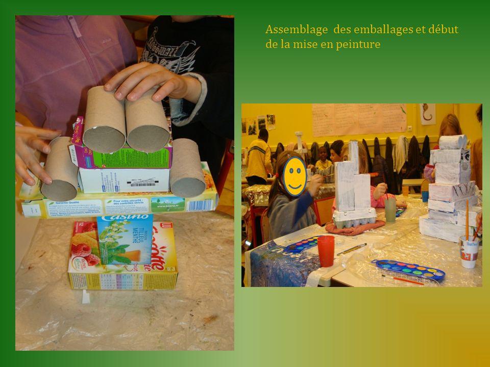 Assemblage des emballages et début de la mise en peinture