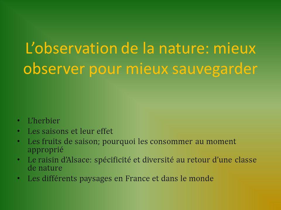 Lobservation de la nature: mieux observer pour mieux sauvegarder Lherbier Les saisons et leur effet Les fruits de saison; pourquoi les consommer au mo