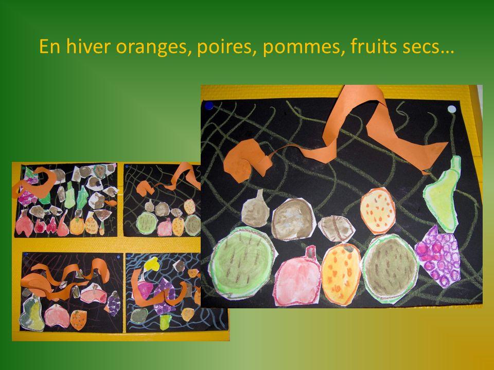 En hiver oranges, poires, pommes, fruits secs…