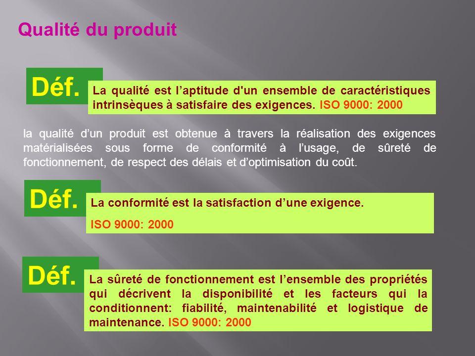 la qualité dun produit est obtenue à travers la réalisation des exigences matérialisées sous forme de conformité à lusage, de sûreté de fonctionnement