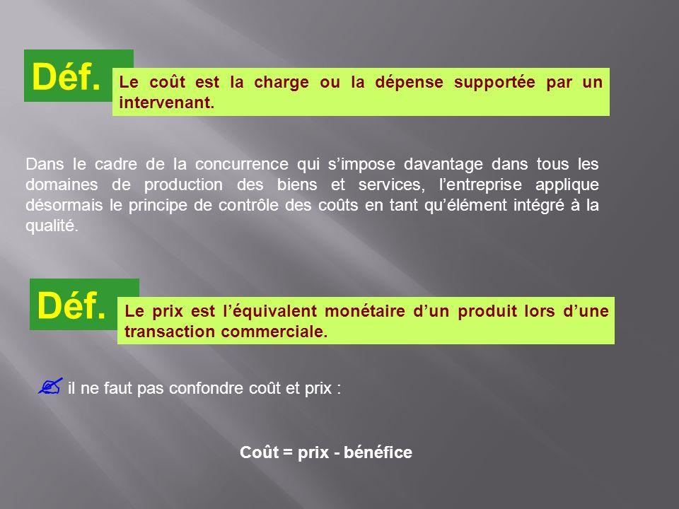 il ne faut pas confondre coût et prix : Coût = prix - bénéfice Déf. Le coût est la charge ou la dépense supportée par un intervenant. Déf. Le prix est