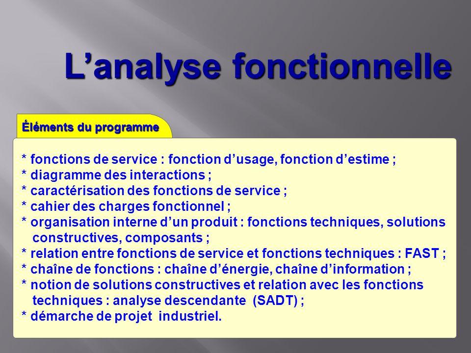Lanalyse fonctionnelle Éléments du programme * fonctions de service : fonction dusage, fonction destime ; * diagramme des interactions ; * caractérisa