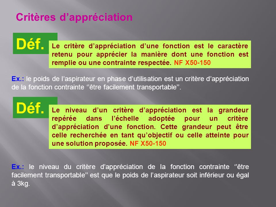 Critères dappréciation Déf. Le critère dappréciation dune fonction est le caractère retenu pour apprécier la manière dont une fonction est remplie ou