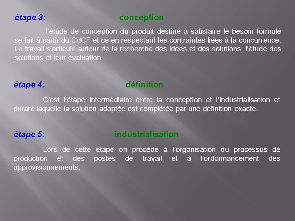 étape 3: conception létude de conception du produit destiné à satisfaire le besoin formulé se fait à partir du CdCF et ce en respectant les contrainte