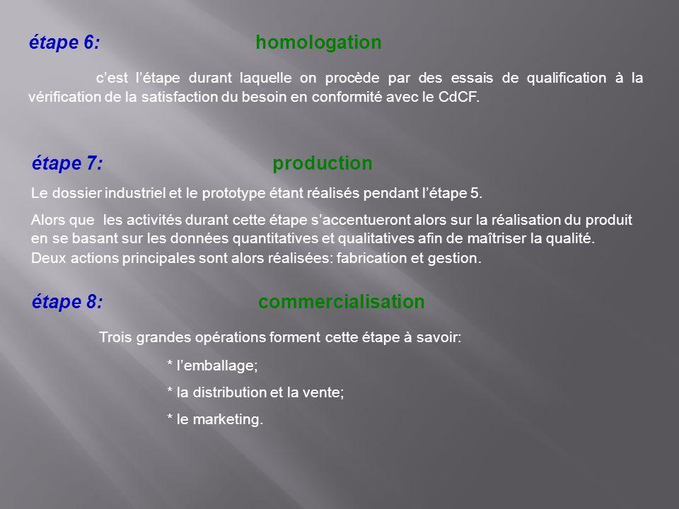 étape 6: homologation cest létape durant laquelle on procède par des essais de qualification à la vérification de la satisfaction du besoin en conform
