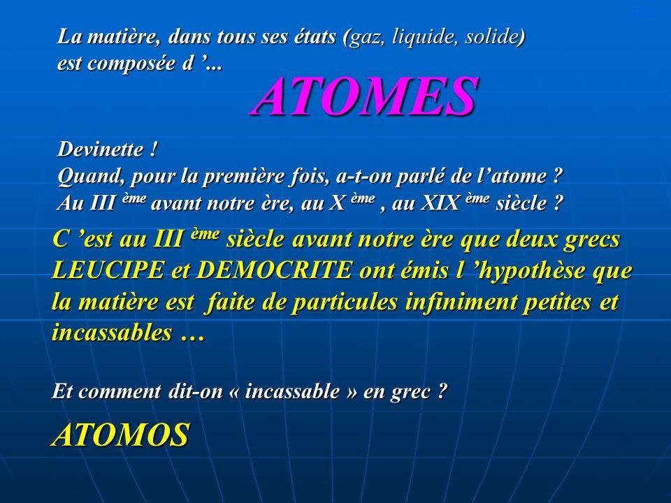 L atome est composé d un élément central appelé le ….