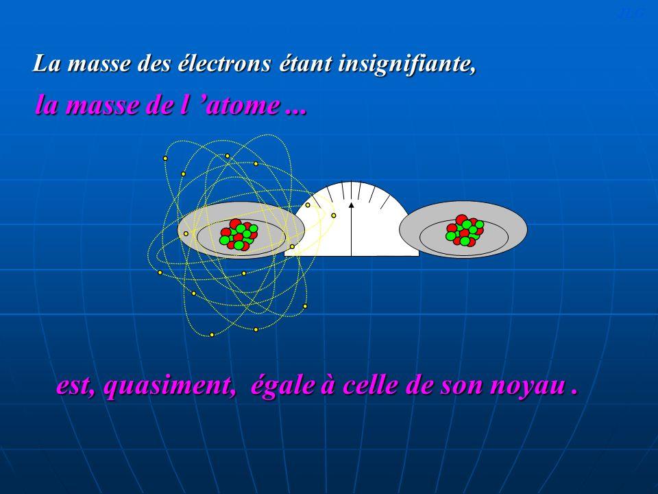 La masse des électrons étant insignifiante, est, quasiment, égale à celle de son noyau. la masse de l atome... JLG