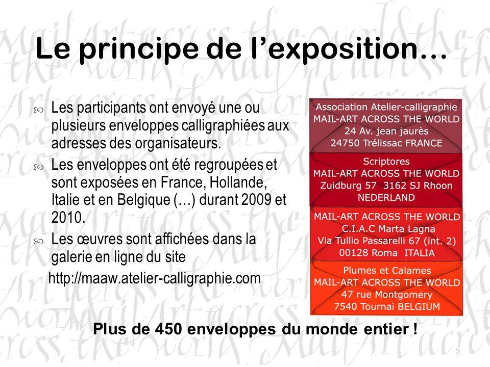 2 Le principe de lexposition… Les participants ont envoyé une ou plusieurs enveloppes calligraphiées aux adresses des organisateurs. Les enveloppes on