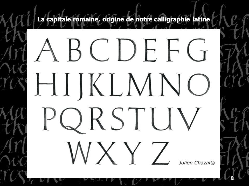 9 La calligraphie connaît 3 règles de bases : - langle qui définit le plein et le délié - le module de la lettre qui définit sa hauteur - le ductus qui indique le sens et lordre des traits qui composent chaque lettre.