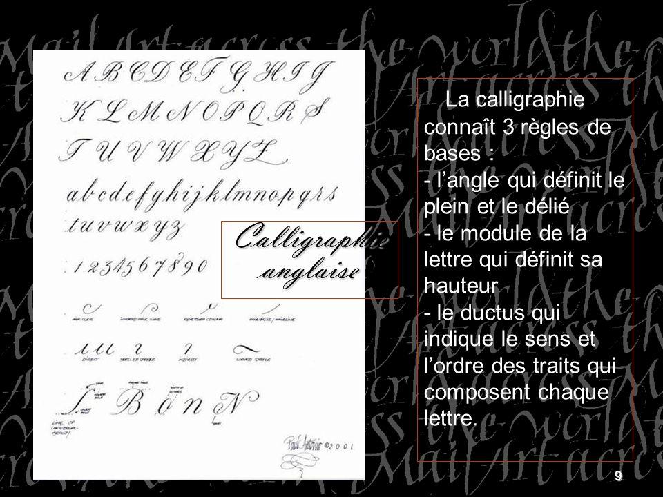 9 La calligraphie connaît 3 règles de bases : - langle qui définit le plein et le délié - le module de la lettre qui définit sa hauteur - le ductus qu