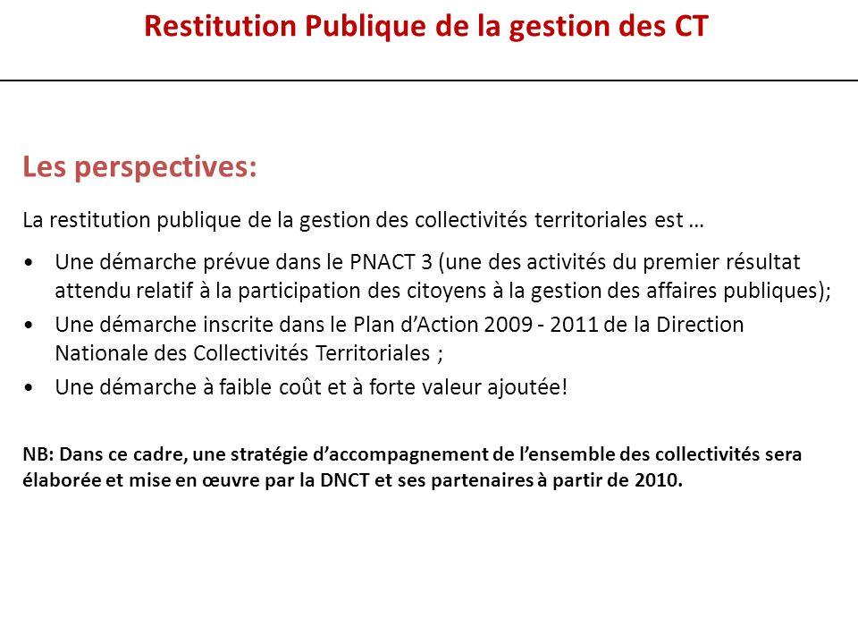 Les perspectives: La restitution publique de la gestion des collectivités territoriales est … Une démarche prévue dans le PNACT 3 (une des activités d