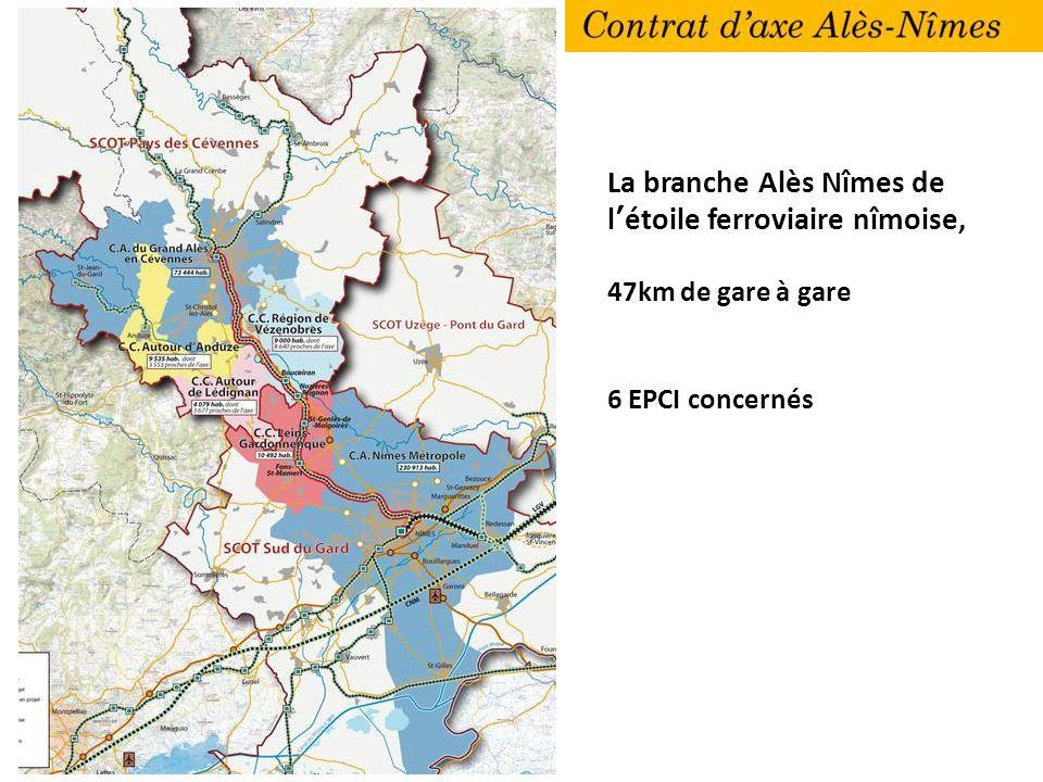 La branche Alès Nîmes de létoile ferroviaire nîmoise, 47km de gare à gare 6 EPCI concernés