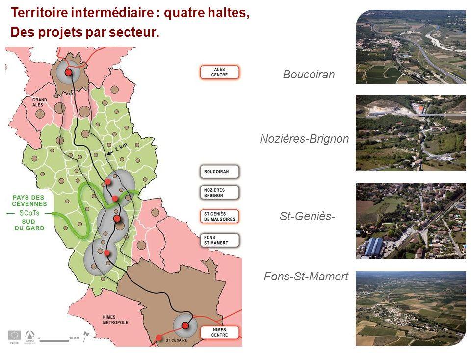 Territoire intermédiaire : quatre haltes, Des projets par secteur. Boucoiran Nozières-Brignon St-Geniès- Fons-St-Mamert
