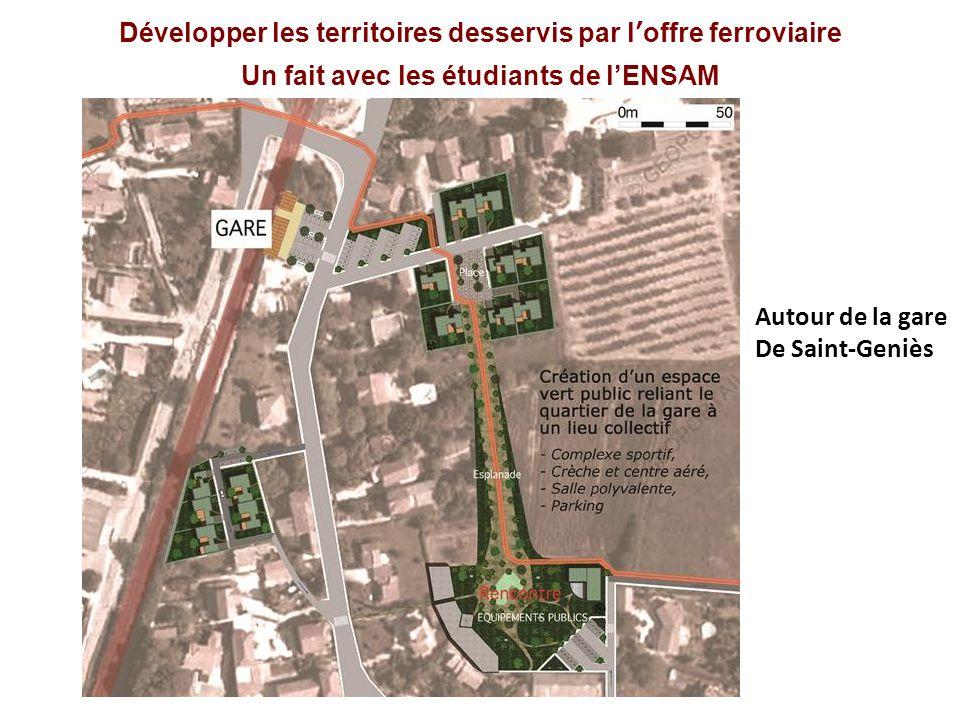Développer les territoires desservis par loffre ferroviaire Un fait avec les étudiants de lENSAM Autour de la gare De Saint-Geniès