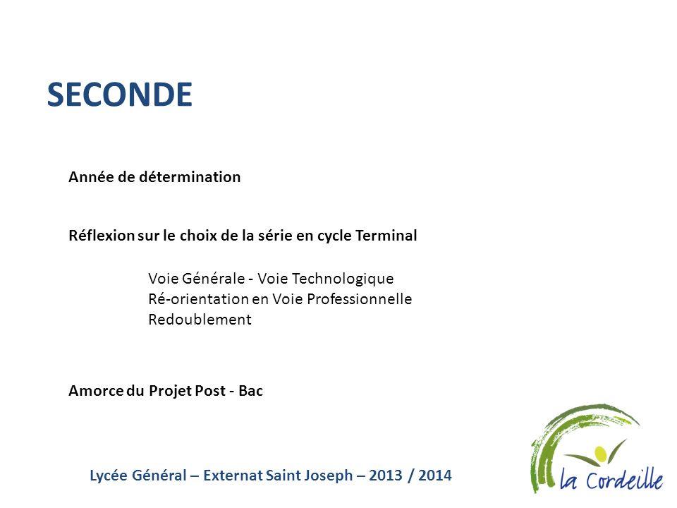 Lycée Général – Externat Saint Joseph – 2013 / 2014 SECONDE Année de détermination Réflexion sur le choix de la série en cycle Terminal Amorce du Proj