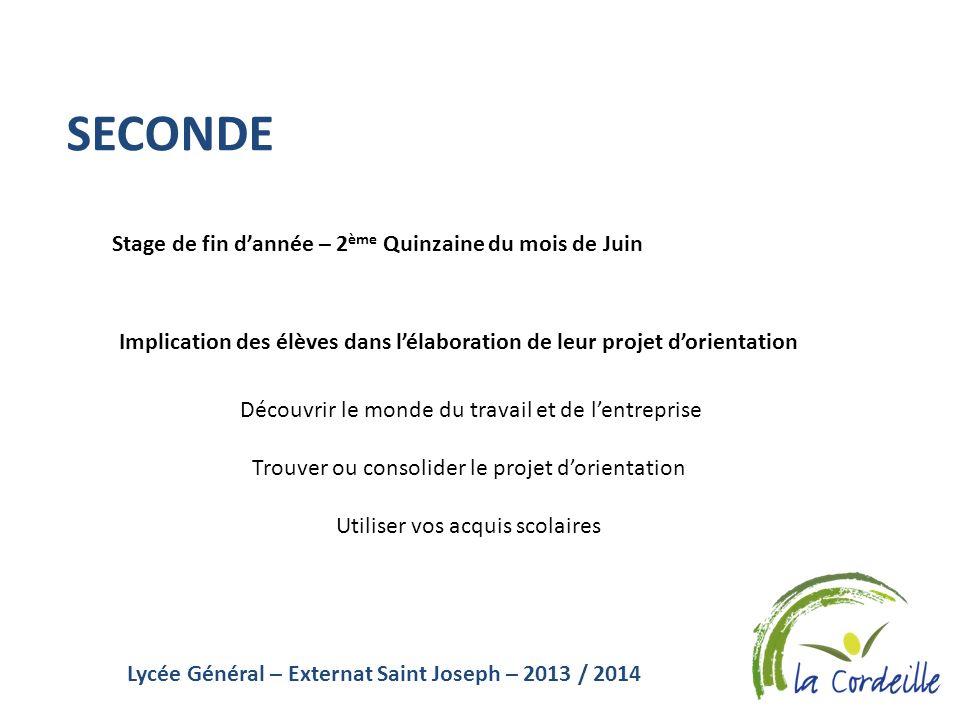 Lycée Général – Externat Saint Joseph – 2013 / 2014 SECONDE Stage de fin dannée – 2 ème Quinzaine du mois de Juin Implication des élèves dans lélabora