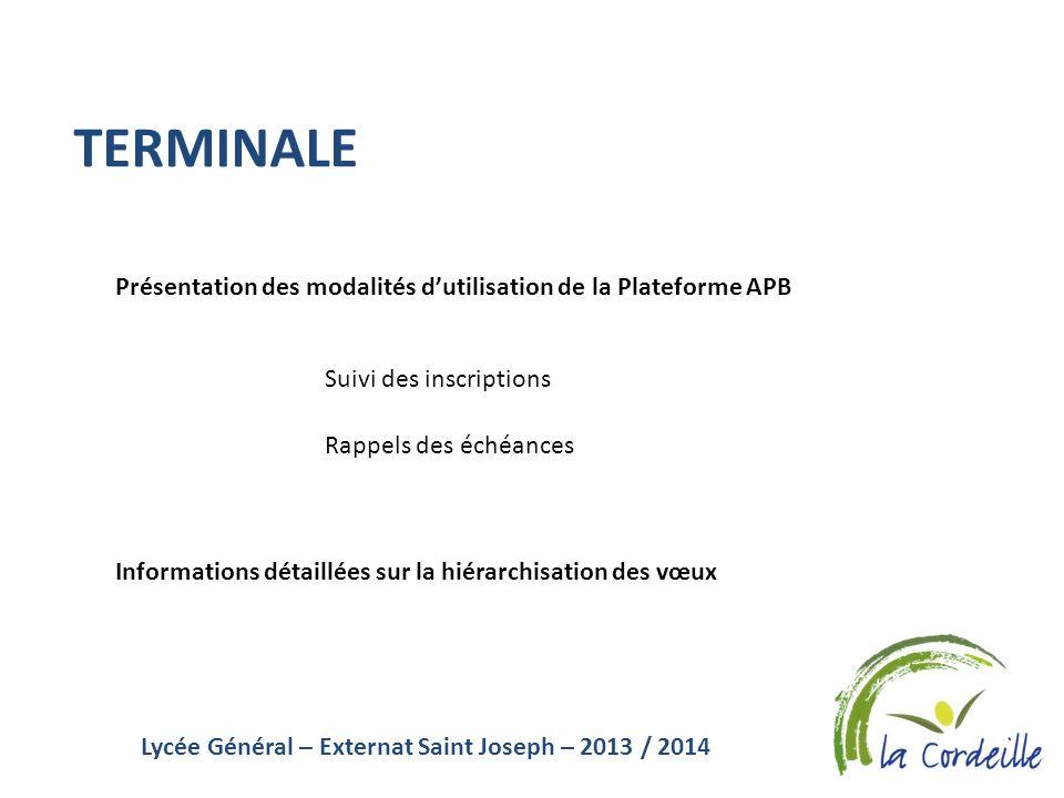 Lycée Général – Externat Saint Joseph – 2013 / 2014 TERMINALE Présentation des modalités dutilisation de la Plateforme APB Suivi des inscriptions Rapp