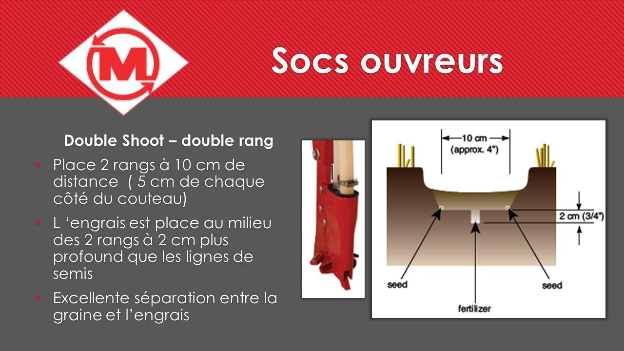 Socs ouvreurs Double Shoot – double rang Place 2 rangs à 10 cm de distance ( 5 cm de chaque côté du couteau) L engrais est place au milieu des 2 rangs