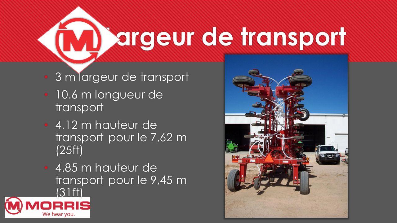 Largeur de transport 3 m largeur de transport 10.6 m longueur de transport 4.12 m hauteur de transport pour le 7,62 m (25ft) 4.85 m hauteur de transpo
