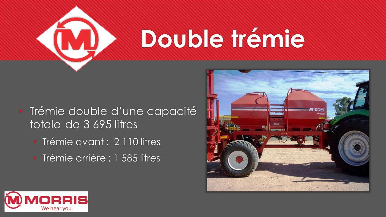 Double trémie Trémie double dune capacité totale de 3 695 litres Trémie avant : 2 110 litres Trémie arrière : 1 585 litres Trémie double dune capacité