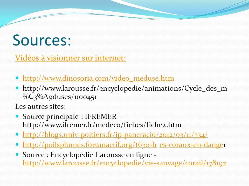 Sources: Vidéos à visionner sur internet: http://www.dinosoria.com/video_meduse.htm http://www.larousse.fr/encyclopedie/animations/Cycle_des_m %C3%A9d