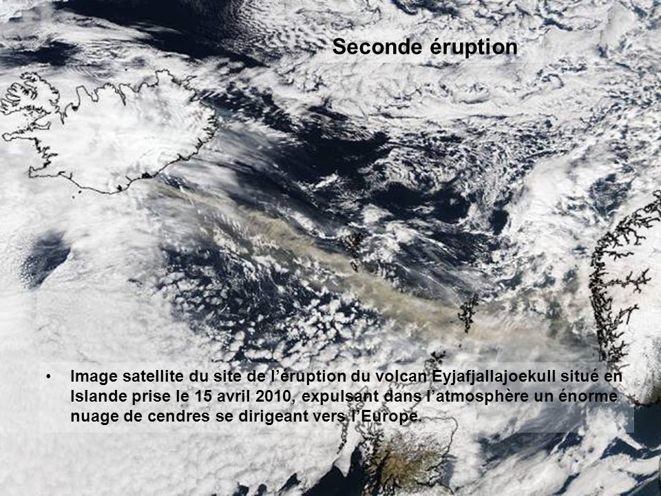 Image satellite de l'éruption à Fimmvörðuháls le 24 mars 2010.