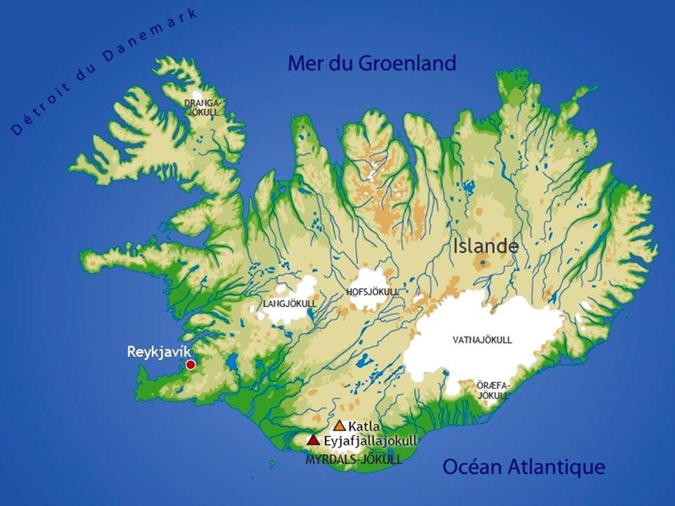Carte du système volcanique d'Islande