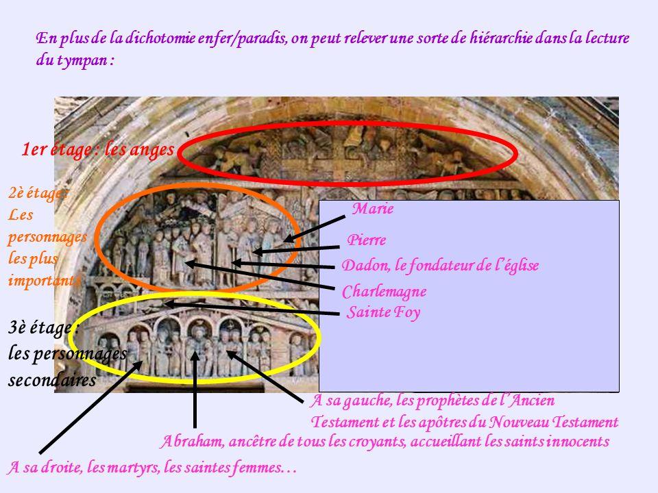 En plus de la dichotomie enfer/paradis, on peut relever une sorte de hiérarchie dans la lecture du tympan : 1er étage : les anges 2è étage : Les perso